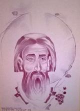 Sveti Sava, slika Slobodana Zablačanskog, rađena vinom